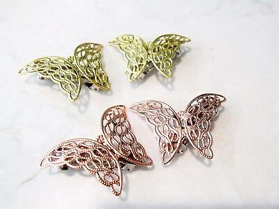 Antique style gold or rose gold butterfly hair clip clamp barrettes (set of two)