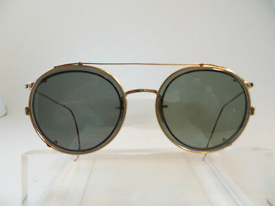 Vintage  Round Frame with Clip 12 Karat Gold filled Rim steampunk cable temples