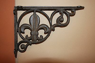 "Fleur De Lis Wall Shelf Brackets, 9 1/2"", French Decor, Saints,Cast Iron, B-3"