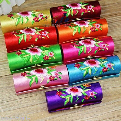 Women Lady Flower Brocade Retro  12 pcs Lipstick Case Holder Box with Mirror