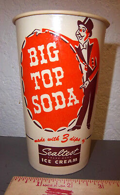 vintage Big Top Soda wax lined cup with Sealtest ice cream ad, great graphics