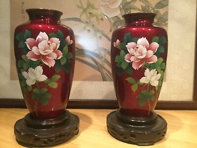 A Perfect Pair Pigeon Blood Cloisonné Vases Drilled to be Lamps