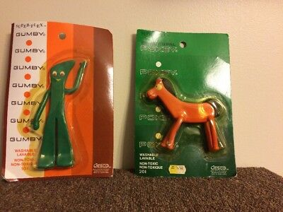 Vtg 1980's Gumby and Pokey Superflex Bendable Figures by Jesco NEW