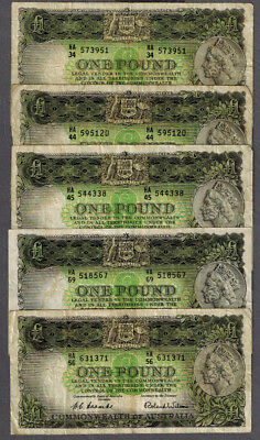 5x Australian 1953 QEII Coombs/Wilson One Pound Banknotes R33