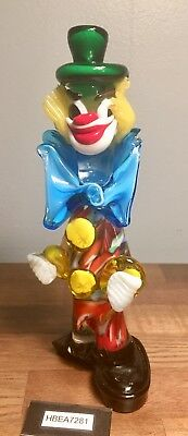 """Lovely, Vibrant, and Vintage Murano Italian Hand Blown Glass Clown 8.5"""" Tall!"""