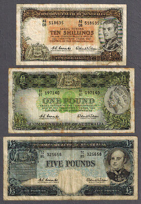 3x Australia 1960-61 QEII Coombs/Wilson 10 Shillings-5 Pounds Notes R17 R34 R50