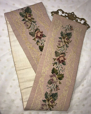 Vtg Needlepoint Bell Pull Pink Roses Brass Victorian Antique Tapestry Wall Hang