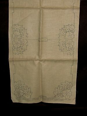 Antique Vtg Stamped Linen Table Cloth Runner Embroidery Cross Stitch Art Deco 2