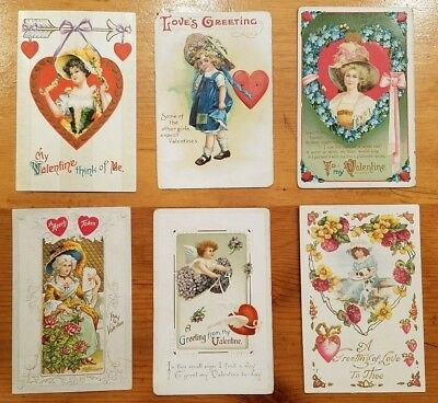 6 Antique Vintage Embossed Valentine's Post Cards from early 1900s