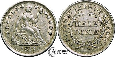 1857 H10c Seated Liberty Half Dime EF XF weakly struck rare old type coin money