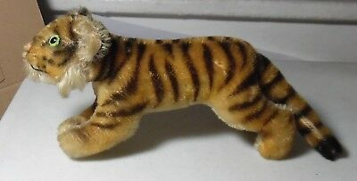 """1960s Steiff Mohair Young Running Tiger w/Bright Green Eyes-Measures 7"""" Long"""