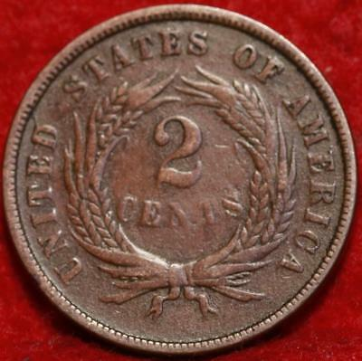 1866 Copper Philadelphia Mint Two Cent Coin