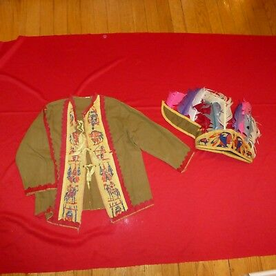 Antique/vintage 1930's Era Native American Child's Jacket And Feather Headress