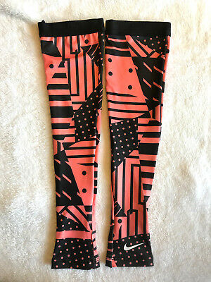 NIKE PRO Womens Arm Sleeves Running Train  Printed Apricot Black Thumb Open XS/S