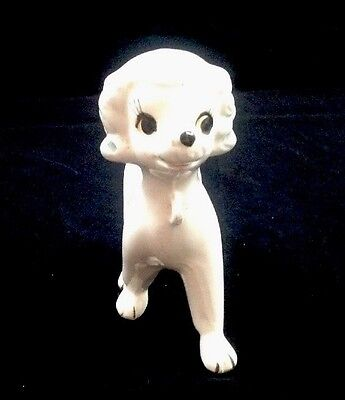 Vintage French Poodle White Hand Painted Mid Century Porcelain Animal Dog Pets