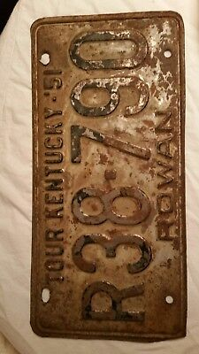 Vintage antique ky 51 1951 TOUR KENTUCKY  ROWAN License plate !!!