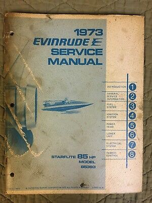 1973 Evinrude Service Manual Starflite 85 Hp Outboard Shop Repair Model 85393