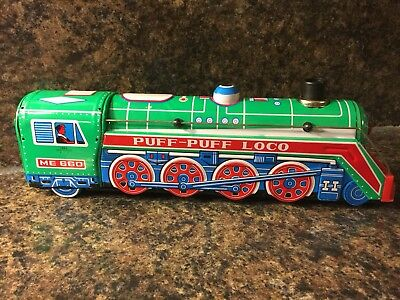 Vintage Tin Puff Puff Loco Battery Operated Train Pivots Lights