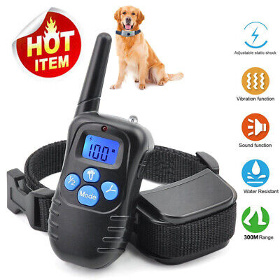 300 Yard Rechargeable Pet Dog Training Collar 100LV Shock Vibrate Remote No Bark