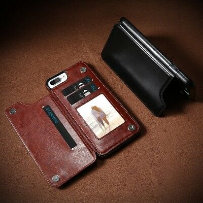 Luxury PU Leather Magnetic Flip Card Holders Shockproof Cover Case For iPhone S