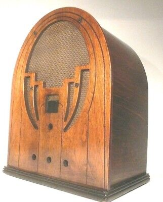 vintage* PHILCO MODEL 60 RADIO CATHEDRAL: Refinished WOOD SHELL - beautiful