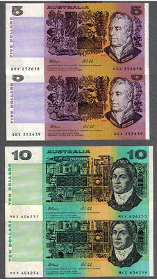 Australia 1991 Fraser/Cole $5-10 Consecutive Pair Notes Plate Letter R209b R313a