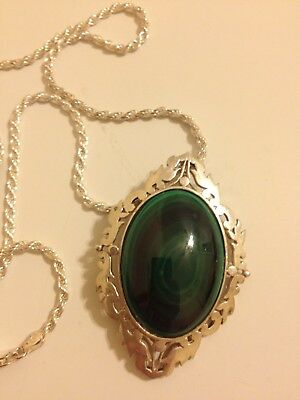 "Large Vintage .925 Sterling Silver Beautiful Malachite Necklace 24"" 36 GRAMS"