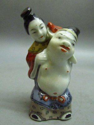 Chinese Porcelain Carved Pig the General carrying his wife on his back Snuff B
