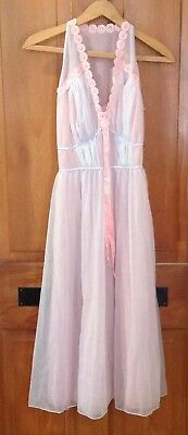 Vintage Womens Luxite Gown Boho Chic Pink Blue Flowers Sz 34