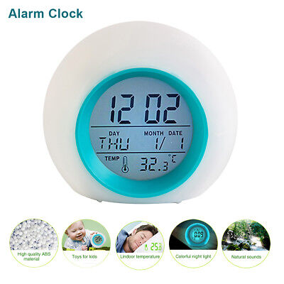 Digital LED Alarm Clock Control Thermometer Natural Wake-up Lights Round Lamp