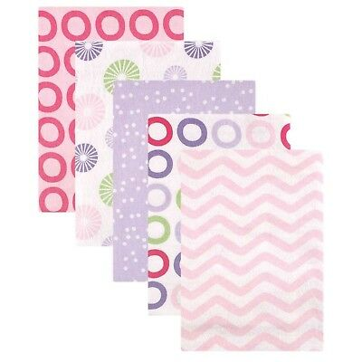 Luvable Friends Flannel Receiving Blankets, Pink Pinwheel, 5 Count New