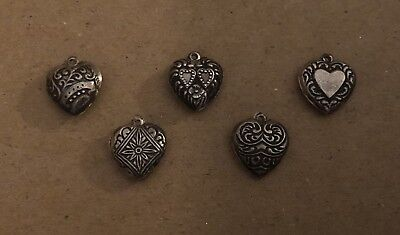 Lot of 5 Vintage Small Puffy Heart Sterling Silver Charms