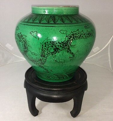 Chinese Antique Porcelain Vase Meiping Ming Asian Rare Green Imperial Dragon