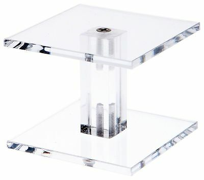 """Plymor Brand Clear Acrylic Square Barbell Pedestal Riser 4.375"""" H x 3"""" W ... New"""