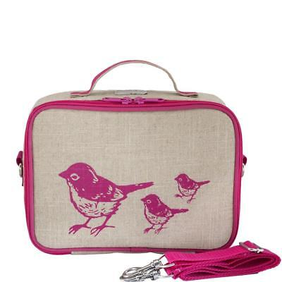 NEW So Young Insulated Lunch Bag Box Raw Linen - Pink Birds