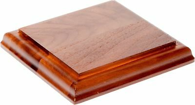"""Plymor Brand Solid Walnut Square Wood Display Base with Ogee Edge, .75"""" H... New"""