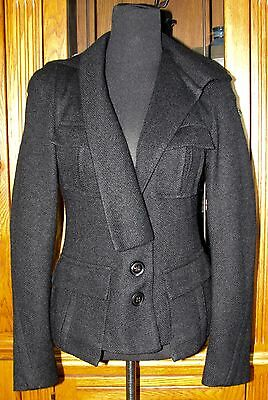 Nanette Lepore Woven Wool Blend Hooded Button Front Tailored Look Jacket Size L