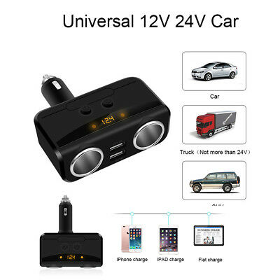 Car LCD Cigarette Lighter Dual USB Charger with Voltmeter 12V-24V Power Adapter