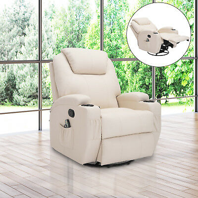 Fauteuil relaxation massant simili cuir beige