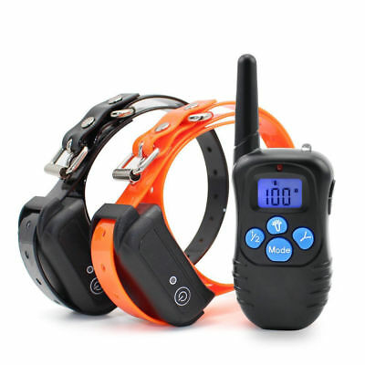 330Yard Waterproof Rechargeable Electric Remote Dog Training E-Collar For 2 Dogs