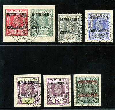 New Hebrides 1910 KEVII set complete very fine used. SG 10-16. Sc 10-16.