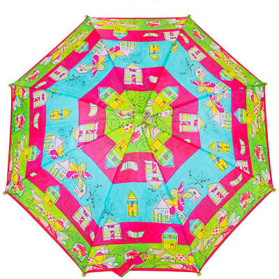 Umbrella-cane light childrens emi-automatic bright colorful umbrella to protect