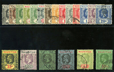 Mauritius 1921 KGV set complete very fine used. SG 223-241.