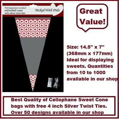 100 - RED Football Cone Cello Cellophane Sweet Party Bags With Silver Ties