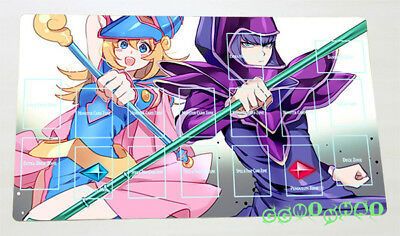 F2399# Free Mat Bag Yugioh Dark Magician & Dark Magician Girl TCG Playmat Zones
