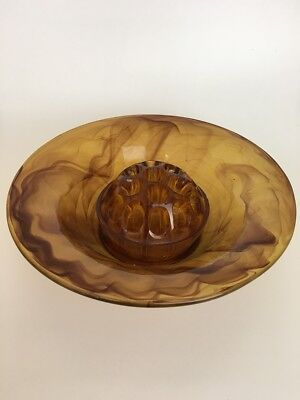 VINTAGE Davidson Glass Amber Cloud Bowl w Frog