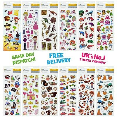 Fun Stickers Children Birthday Party Loot Bag Fillers Kids Decorating Pack D