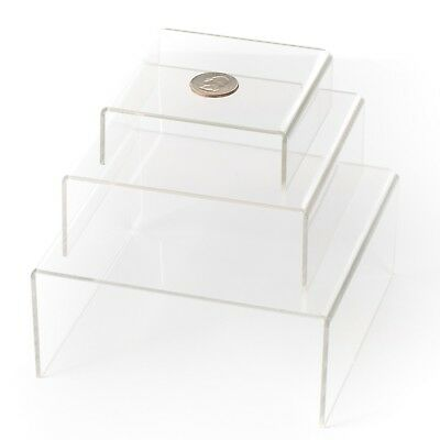 HUJI Clear Medium Low Profile Set of 3 Acrylic Risers Display Stands (1 S... New