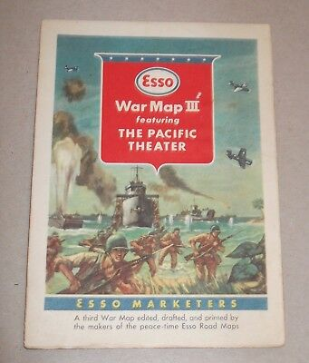 Vtg Esso World War II Map III Featuring Transportation Tanks Planes (Lithograph)