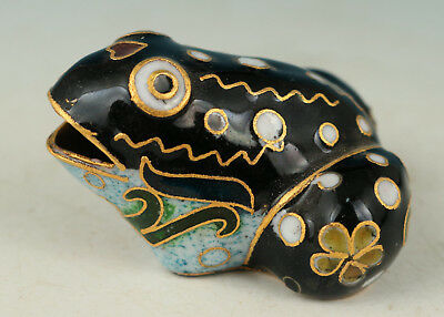 Chinese Cloisonne Handmade Painting Black Frog Statue